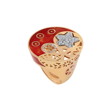 Nouvelle Bague India Preziosa 18k Rose Gold Diamond + Red Enamel Ring // Ring Size: 8.5