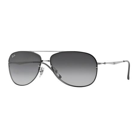 Unisex Aviator Sunglasses // Silver + Gray Gradient