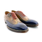 Oscar I Oxfords // Blue + Camel (US: 9.5)