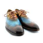 New York Blue Wingtip // Brown + Blue + Tan (US: 9.5)