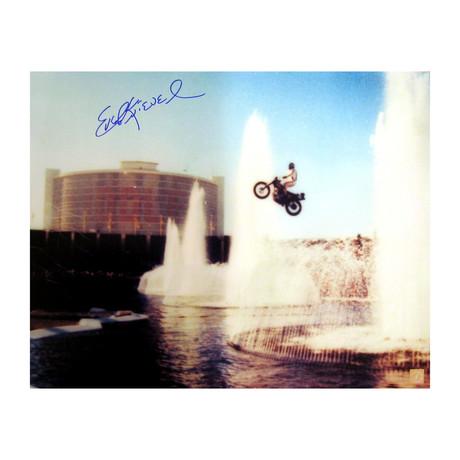Evel Knievel // Autographed Photo // Jumping Caesars Palace