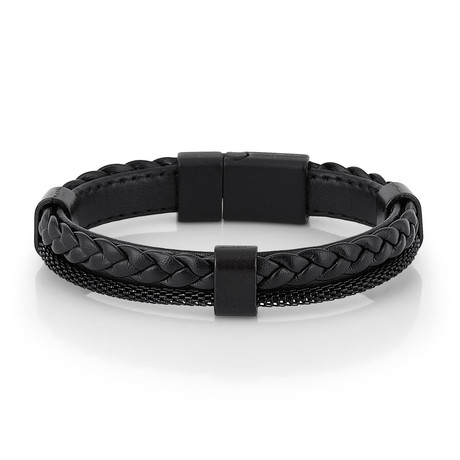 Braided + Chain Bracelet // Black