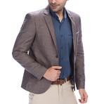 C7852 Grid Blazer // Dark Gray + Brown (S)