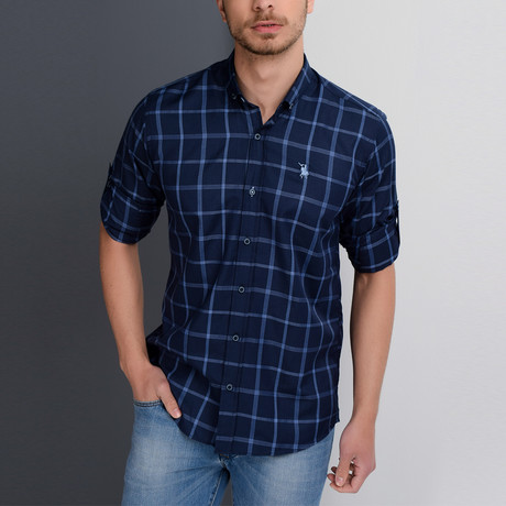 G655 Button-Down Shirt // Dark Blue + Blue (S)