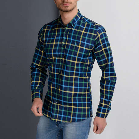 G660 Button-Down Shirt // Blue + Yellow + Green (M)