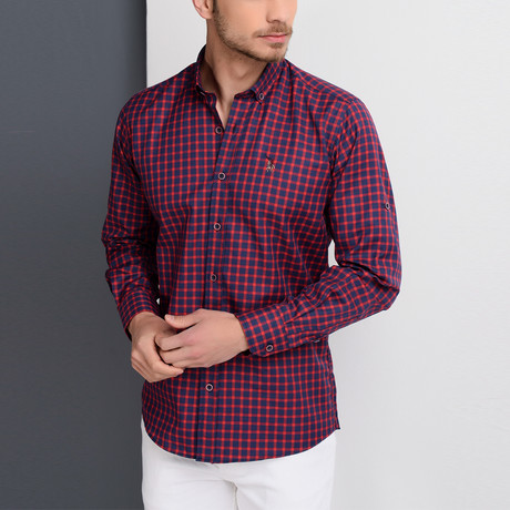 G661 Button-Down Shirt // Dark Blue + Burgundy (S)