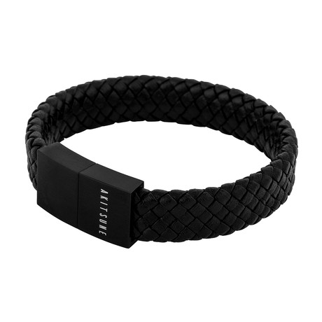 "Subtilitas Leather Bracelet // Matte Black + Black (7"")"