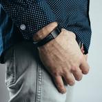 "Subtilitas Leather Bracelet // Matte Black + Black (7"")"