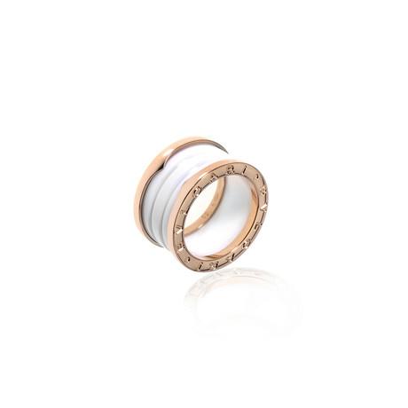 Bulgari B Zero 18k Rose Gold + Ceramic Band Ring II (Ring Size: 5.5)