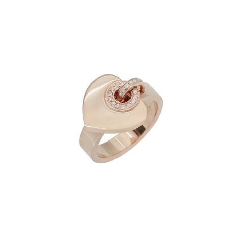 Bulgari Bulgari 18k Rose Gold Diamond Heart Ring // Ring Size: 6.75