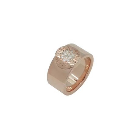 Bulgari Bulgari 18k Rose Gold Diamond Band Ring // Ring Size: 6