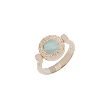 Bulgari Bulgari 18k Rose Gold Mother of Pearl + Onyx Signet Ring // Ring Size: 4.75