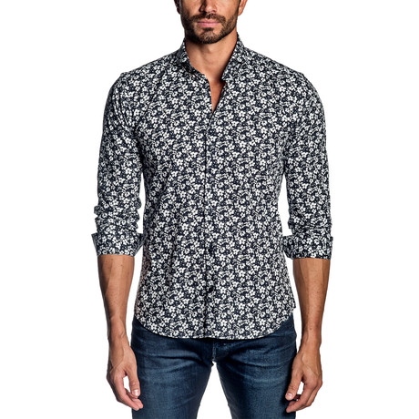 Woven Long-Sleeve Shirt // Black + White Floral (S)