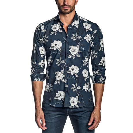 Woven Long-Sleeve Shirt // Navy Floral (S)