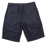 Draw String Formal Denim Shorts // Blue (30WX32L)