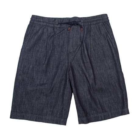 Draw String Formal Denim Shorts // Blue (28WX32L)