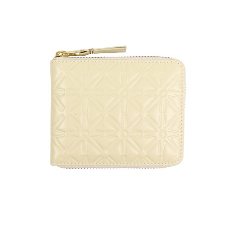 Leather Stars Embossed Small Wallet // Ivory