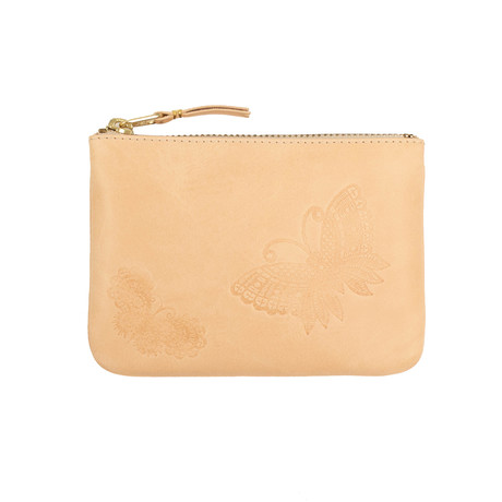 Leather Butterfly Embossed Wallet Pouch // Beige