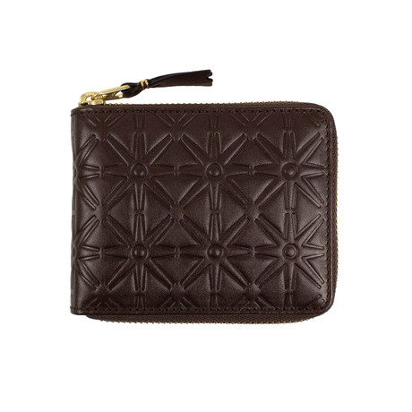 Leather Star Embossed Small Wallet // Brown