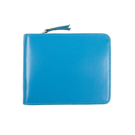 Leather Cardholder Zip Around Wallet // Blue