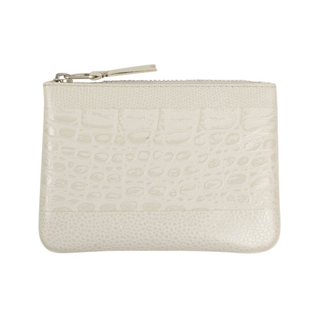 Reptile Leather Patchwork Wallet Pouch // Gray