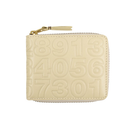 Leather Number Embossed Small Wallet V1 // Ivory