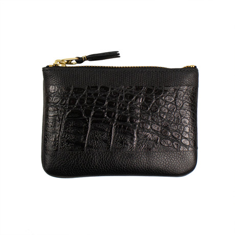 Reptile Leather Patchwork Wallet Pouch // Black