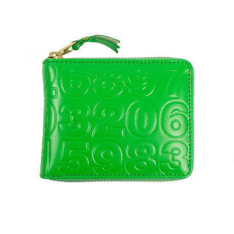 Leather Number Embossed Small Wallet V1 // Green