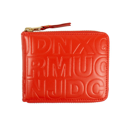 Leather Letter Embossed Small Wallet // Red