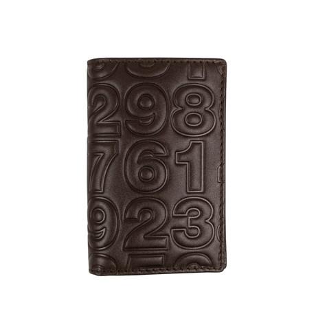 Leather Number Embossed Mini Cardholder Wallet // Brown