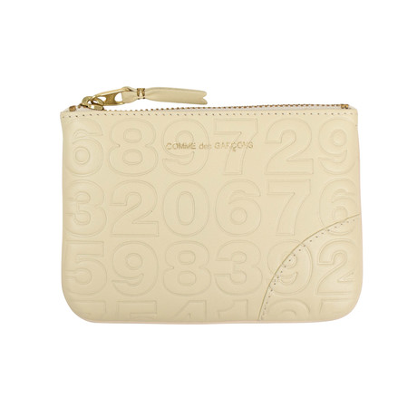 Leather Number Embossed Wallet Pouch // Ivory