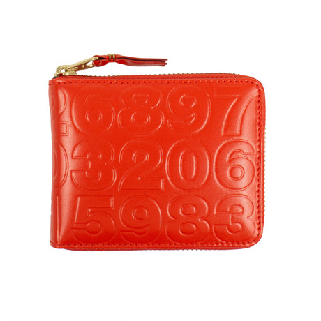 Leather Number Embossed Small Wallet // Red