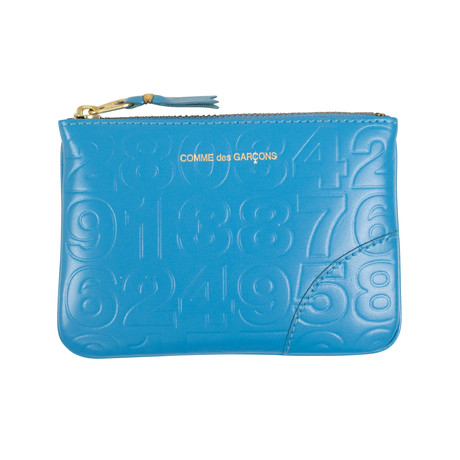 Leather Number Embossed Wallet Pouch // Blue