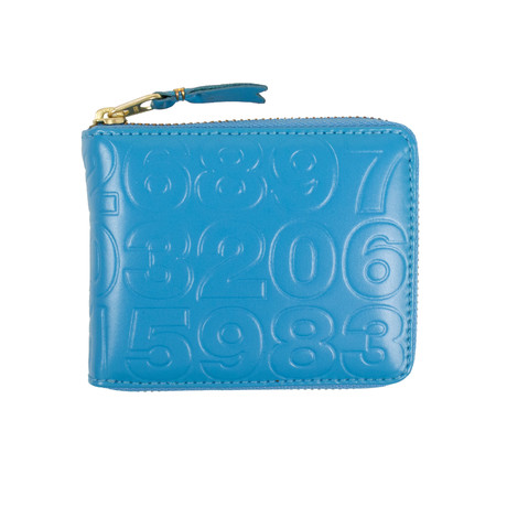 Leather Number Embossed Small Wallet // Blue
