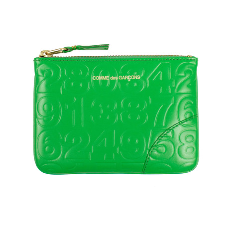 Leather Number Embossed Wallet Pouch // Green