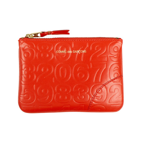Leather Number Embossed Wallet Pouch // Red