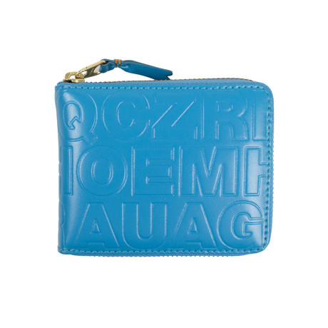 Leather Letter Embossed Small Wallet // Blue
