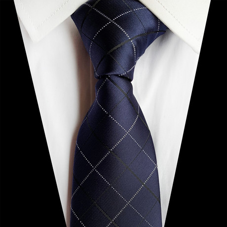 Handmade Silk Tie // Royal Navy Blue Cross Stripe