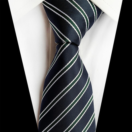Handmade Silk Tie // Deep Blue + Green Stripe