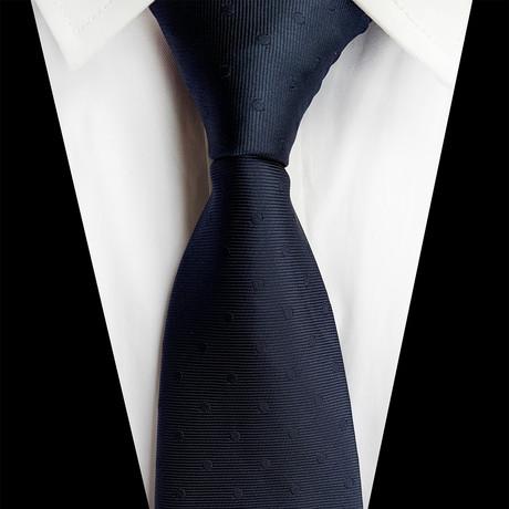 Handmade Silk Tie // Navy Polka