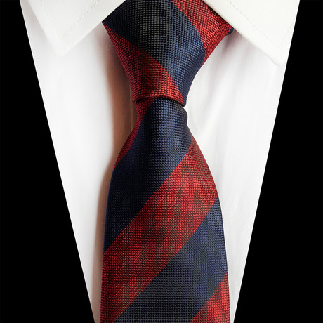 Handmade Silk Tie // Patterned Red + Navy Stripe