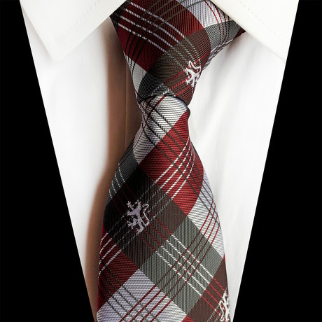 Handmade Silk Tie // Red + Silver Plaid Design