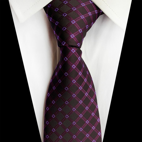 Handmade Silk Tie // Rich Purple Tile