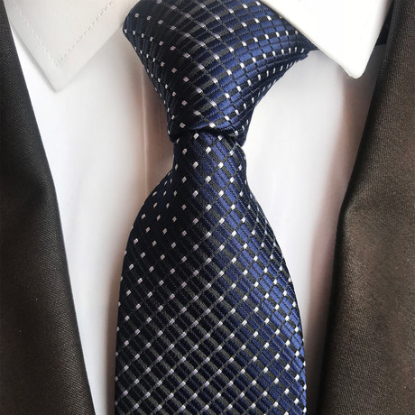 Handmade Silk Tie // White + Blue Design