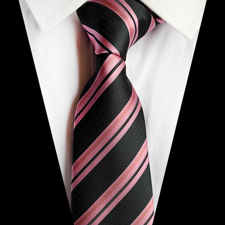 Handmade Silk Tie // Black + Pink Stripe