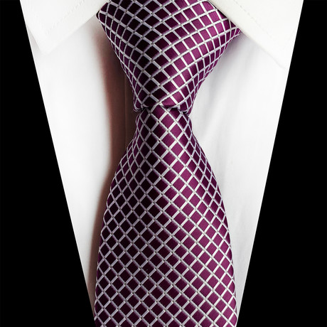 Handmade Silk Tie // Magenta + White Windowpane