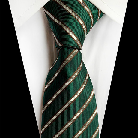 Handmade Silk Tie // Green Stripe