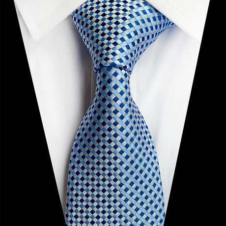 Handmade Silk Tie // Baby Blue Windowpane