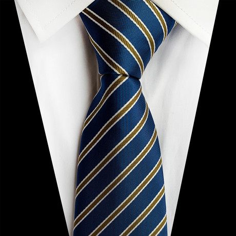 Handmade Silk Tie // Blue + Tan Stripe