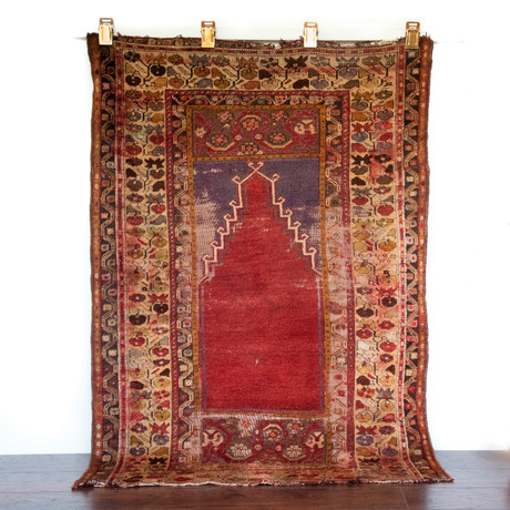 "Turkish Prayer Rug // Hand Knotted Circa 1920 // 4'11""L x 3'5""W"